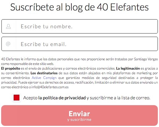 suscribete al blog de 40 elefantes